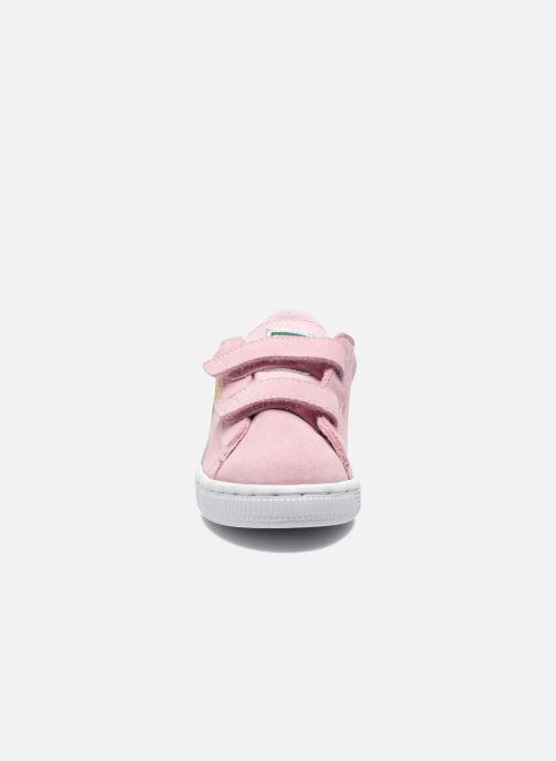 Baskets Puma Suede 2 Straps Kids Rose vue portées chaussures