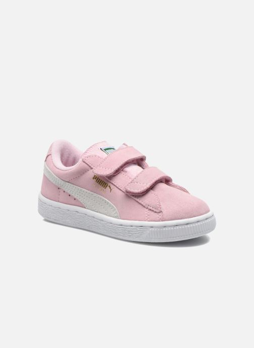 Trainers Puma Suede 2 Straps Kids. Pink detailed view/ Pair view