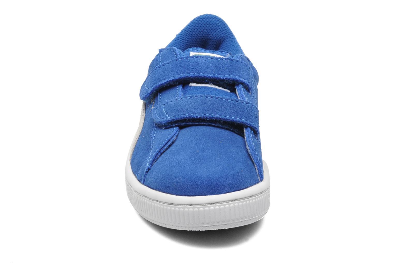 Baskets Puma Suede 2 Straps Kids. Bleu vue portées chaussures