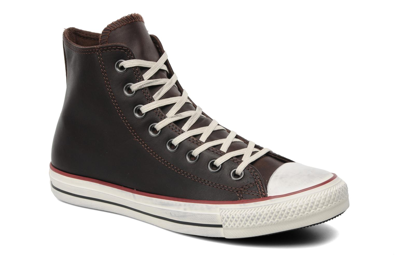 4a8e13f0e5af53 Trainers Converse Chuck Taylor All Star Well Worn Leather Hi M Brown  detailed view  Pair