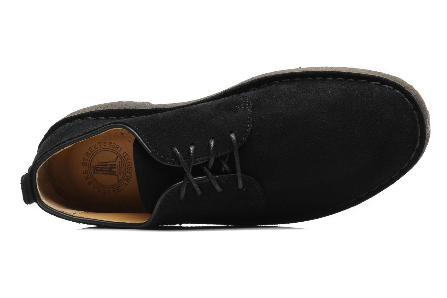 Lace-up shoes Clarks Originals Desert London Black view from the left