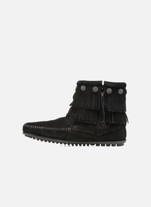 Botines  Minnetonka Double Fringe side zip boot Negro vista de frente