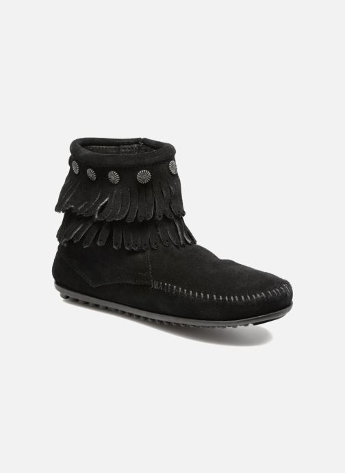 Botines  Minnetonka Double Fringe side zip boot Negro vista de detalle / par