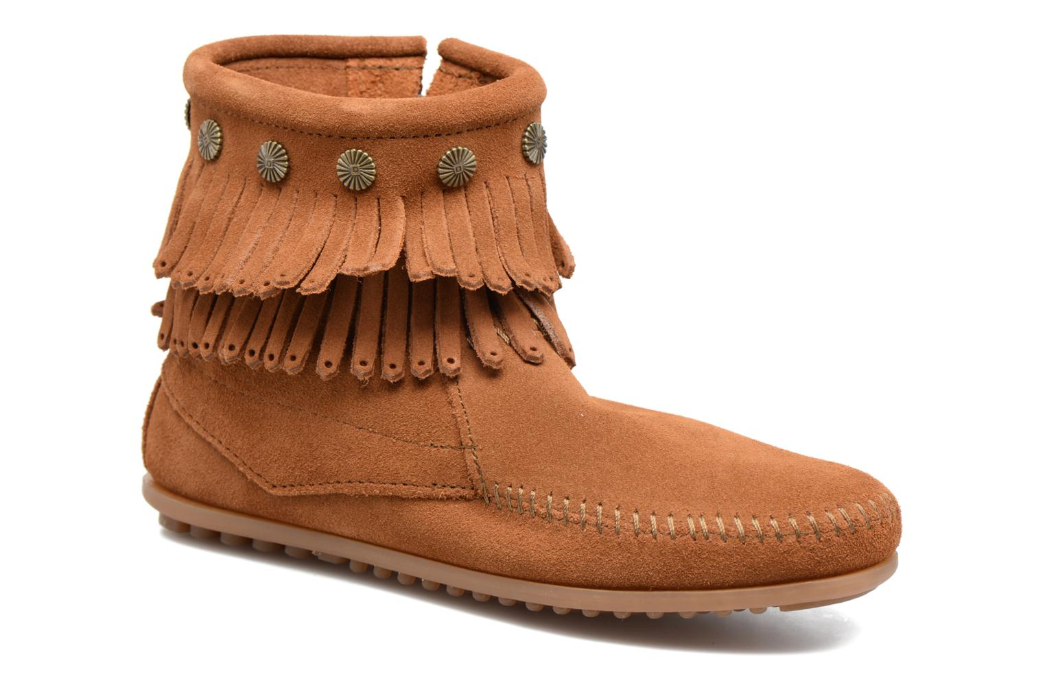 Bottines et boots Minnetonka Double Fringe side zip boot Marron vue détail/paire