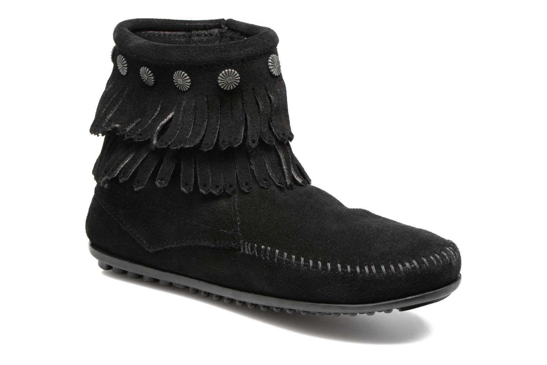 Bottines et boots Minnetonka Double Fringe side zip boot Noir vue détail/paire