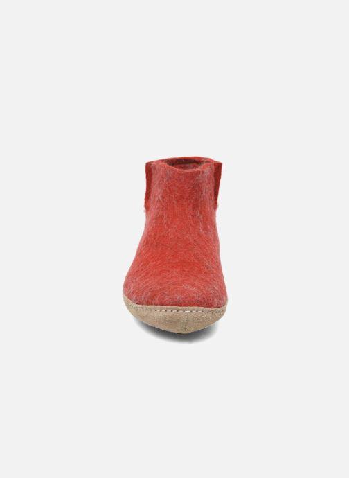 Hausschuhe Glerups Poras W rot schuhe getragen