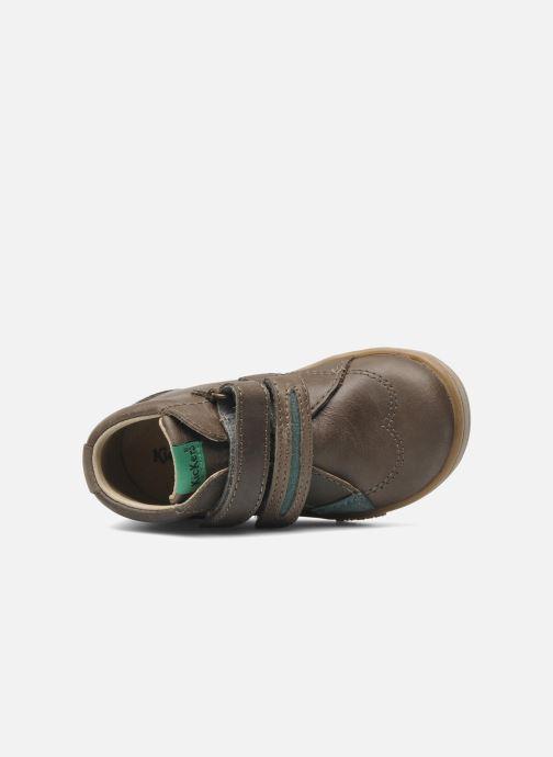 Schoenen met klitteband Kickers Taxi Bruin links