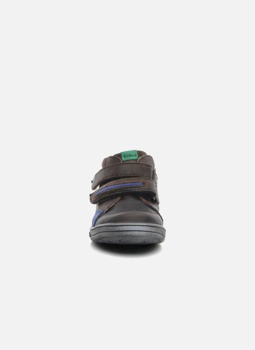 Chaussures à scratch Kickers Taxi Marron vue portées chaussures