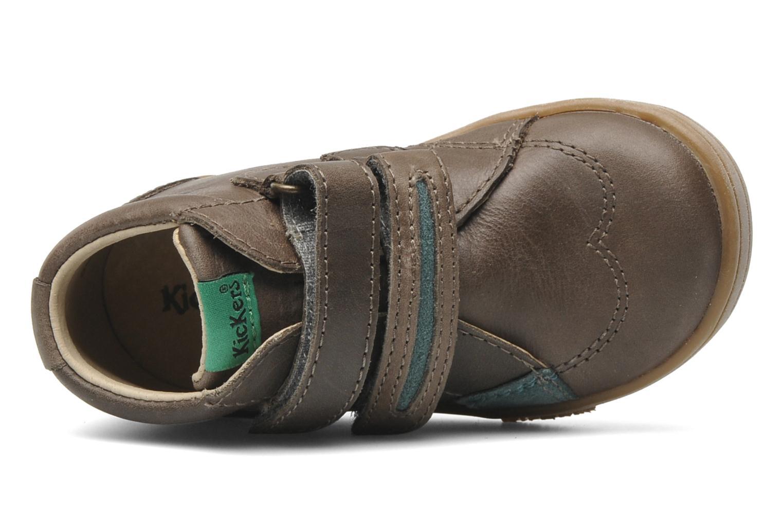 Chaussures à scratch Kickers Taxi Marron vue gauche