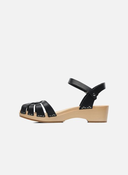 Sandals Swedish Hasbeens Cross Strap Debutant Black front view