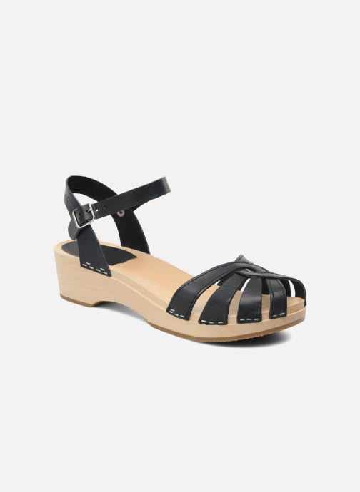 Sandals Swedish Hasbeens Cross Strap Debutant Black detailed view/ Pair view