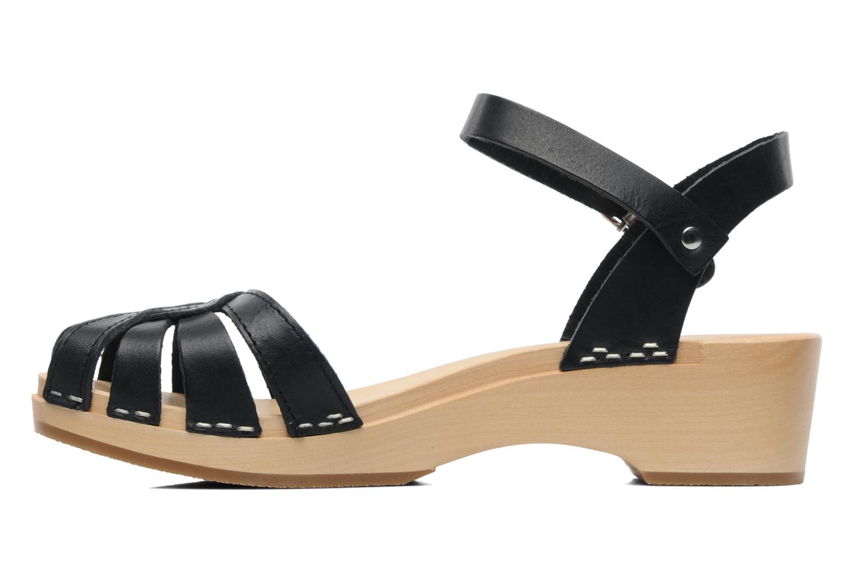 Sandals Swedish Hasbeens Cross Strap Debutant Black front view