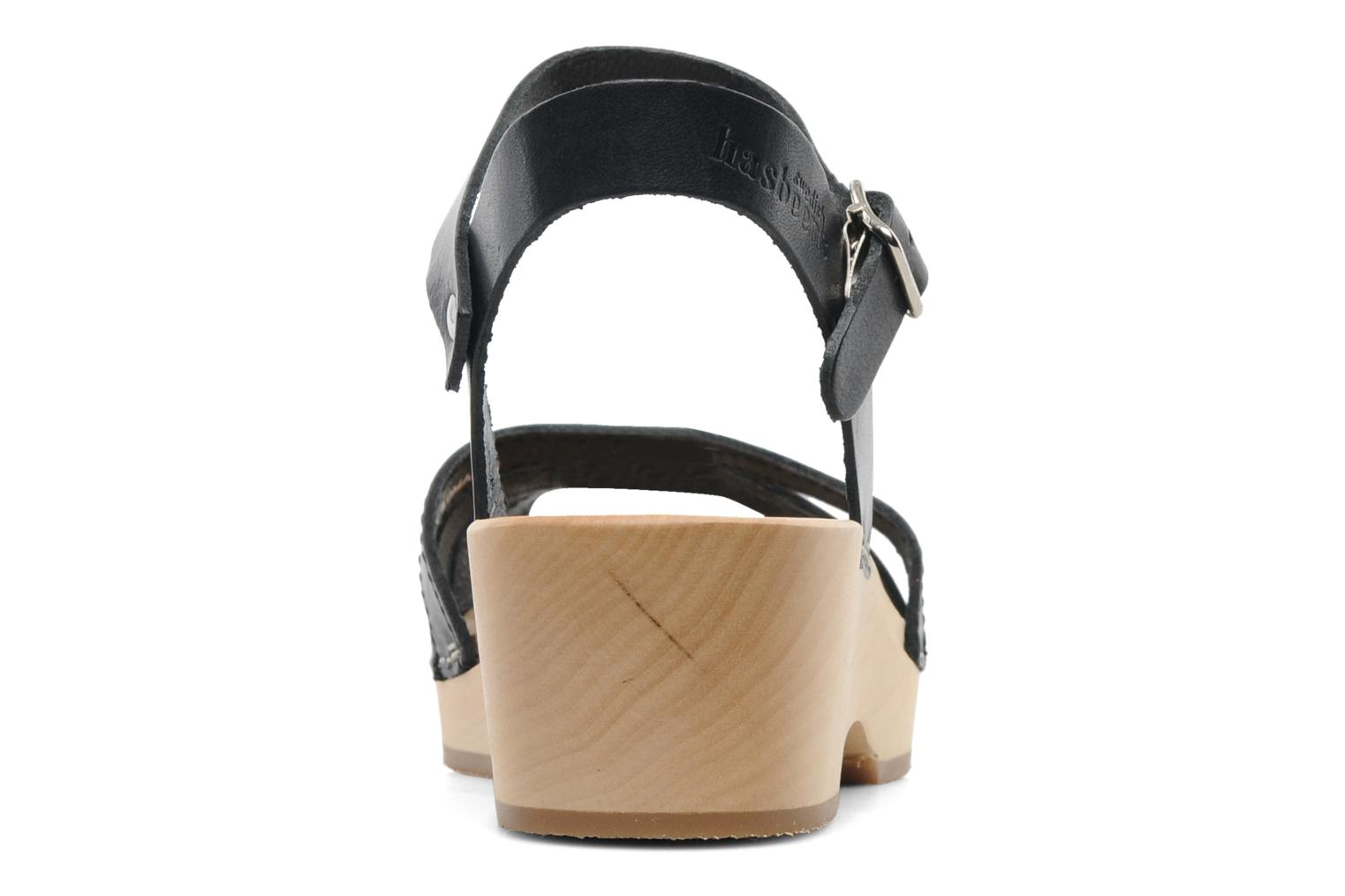 Sandals Swedish Hasbeens Cross Strap Debutant Black view from the right