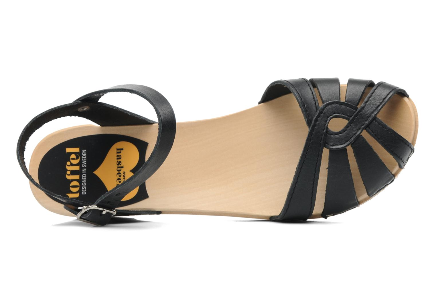 Sandals Swedish Hasbeens Cross Strap Debutant Black view from the left
