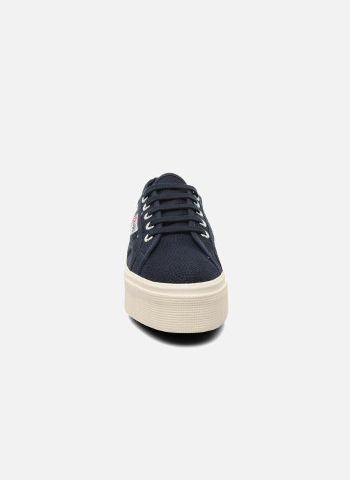 Baskets Superga 2790 Cot Plato Linea W Bleu vue portées chaussures