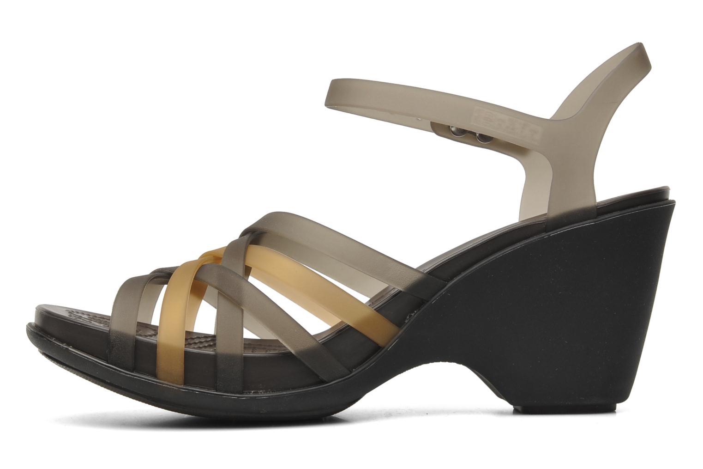 Sandals Crocs Huarache Sandal Wedge Black front view
