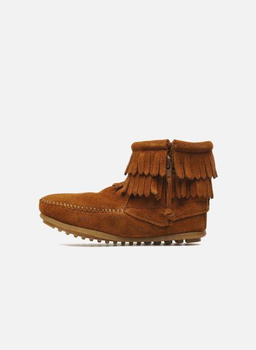 Bottines et boots Minnetonka Double Fringe bootie G Marron vue face