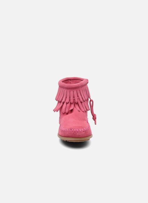 Bottines et boots Minnetonka Double Fringe bootie G Rose vue portées chaussures