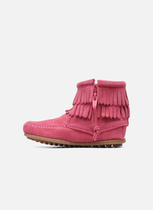 Boots en enkellaarsjes Minnetonka Double Fringe bootie G Roze voorkant