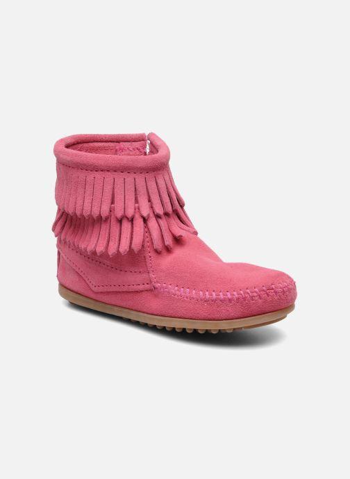 Bottines et boots Minnetonka Double Fringe bootie G Rose vue détail/paire