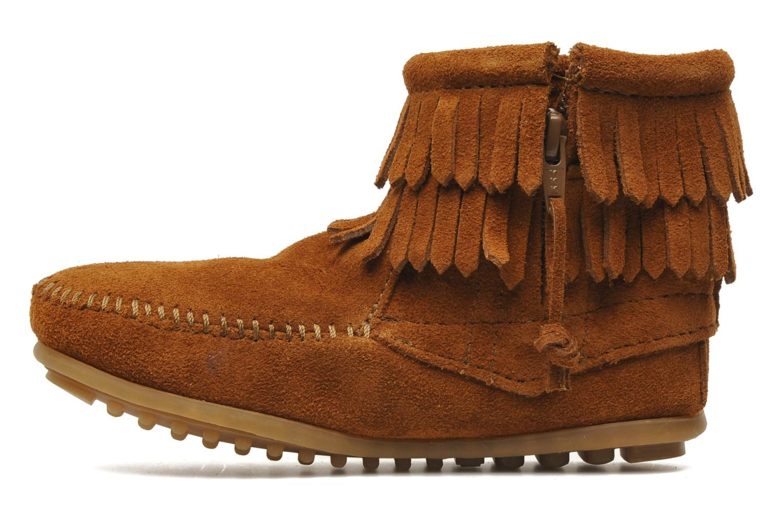 Bottines et boots Minnetonka Double Fringe bootie G Marron vue face