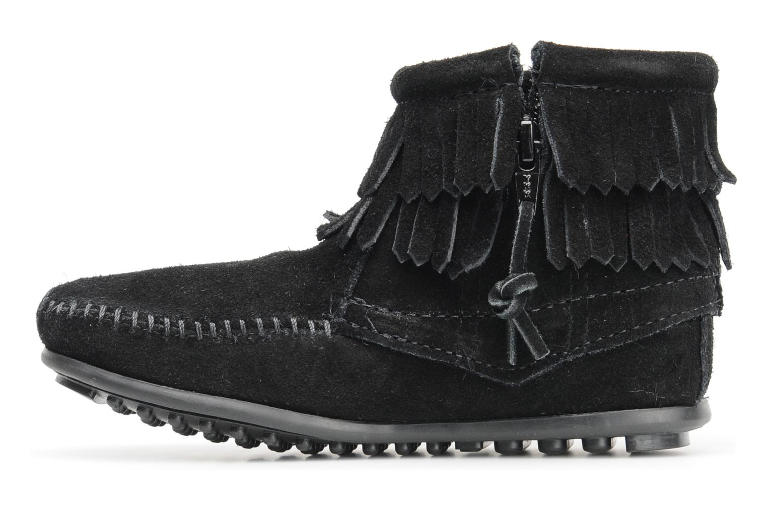 Ankle boots Minnetonka Double Fringe bootie G Black front view