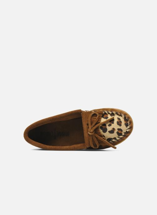 Mocassins Minnetonka Leopard Kilty Moc G Marron vue gauche