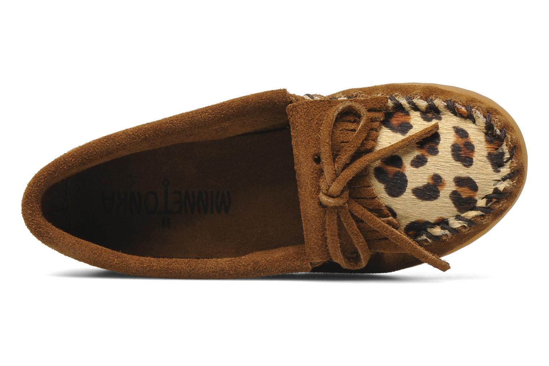 Loafers Minnetonka Leopard Kilty Moc G Brun se fra venstre