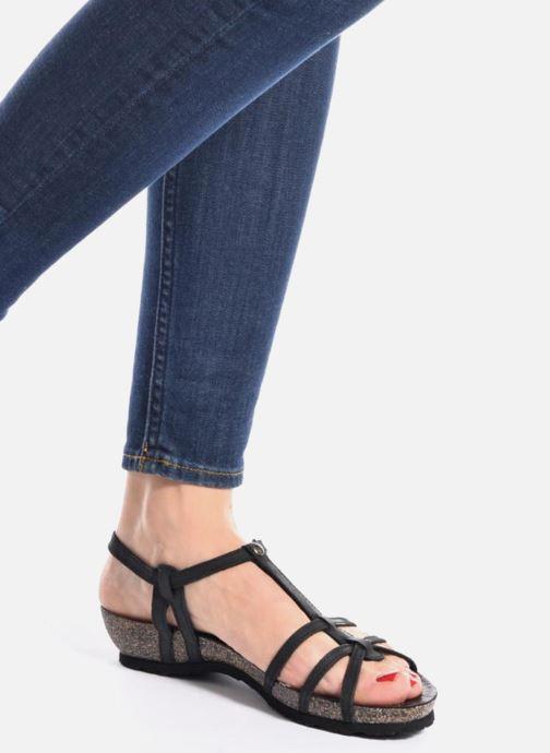 Sandalen Panama Jack Dori schwarz ansicht von unten / tasche getragen