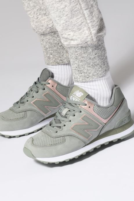 Baskets New Balance WL574 Rose vue bas / vue portée sac