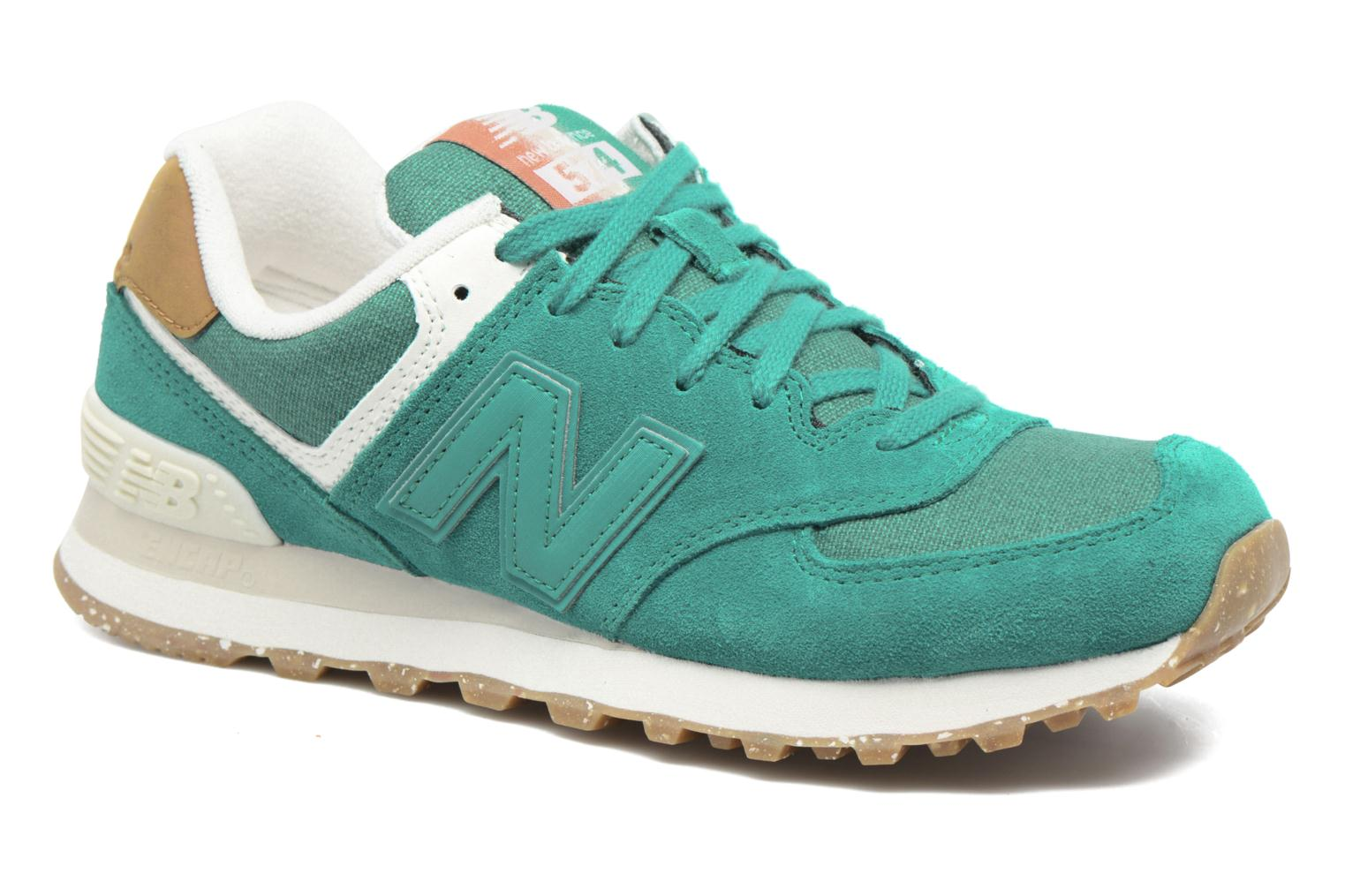 Trainers New Balance WL574 Green detailed view/ Pair view