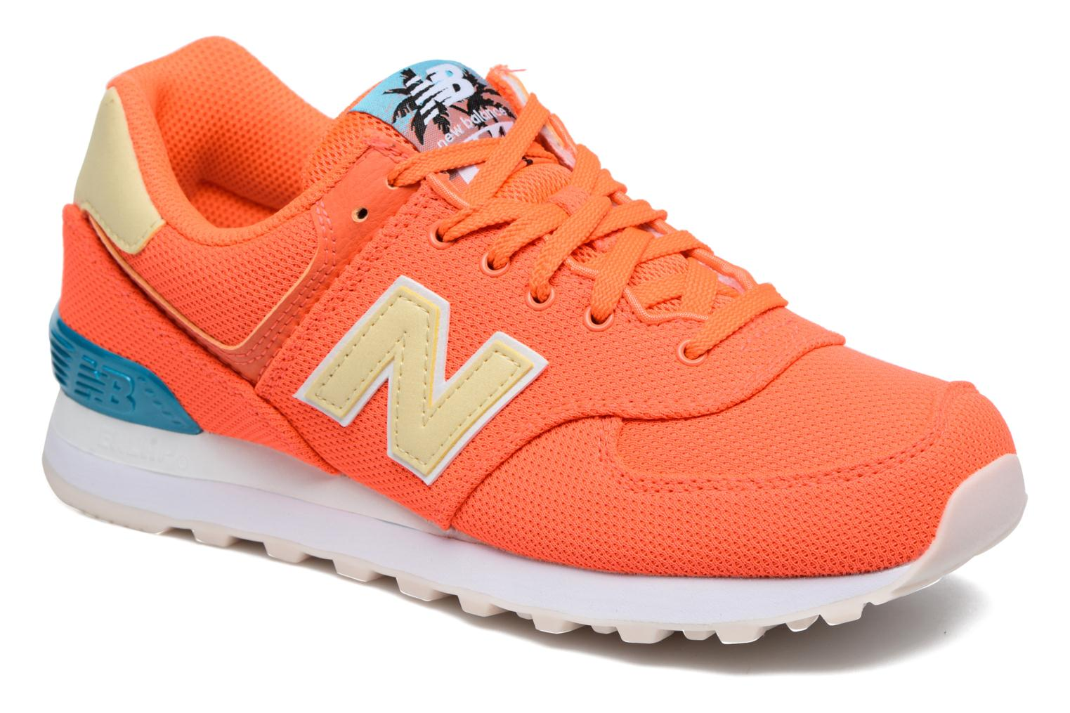 Trainers New Balance WL574 Orange detailed view/ Pair view