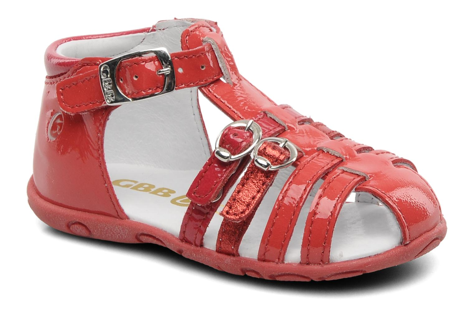 Sandals GBB Gentiane Red detailed view/ Pair view