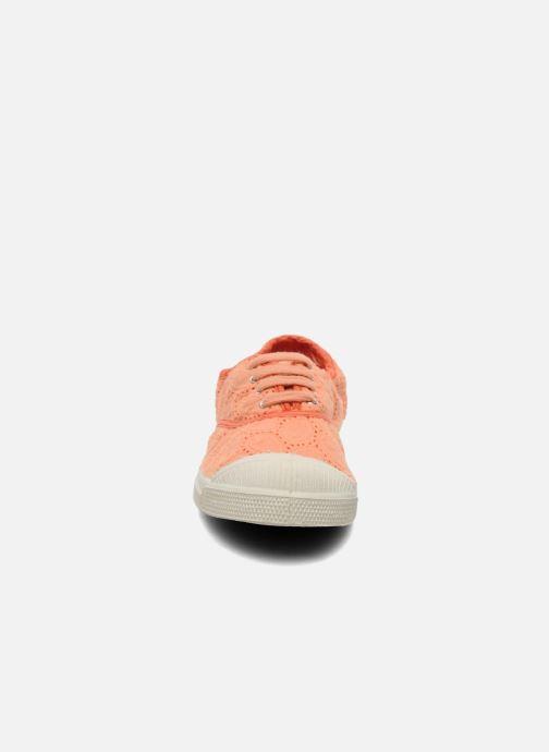 Baskets Bensimon Tennis Broderie Anglaise Orange vue portées chaussures