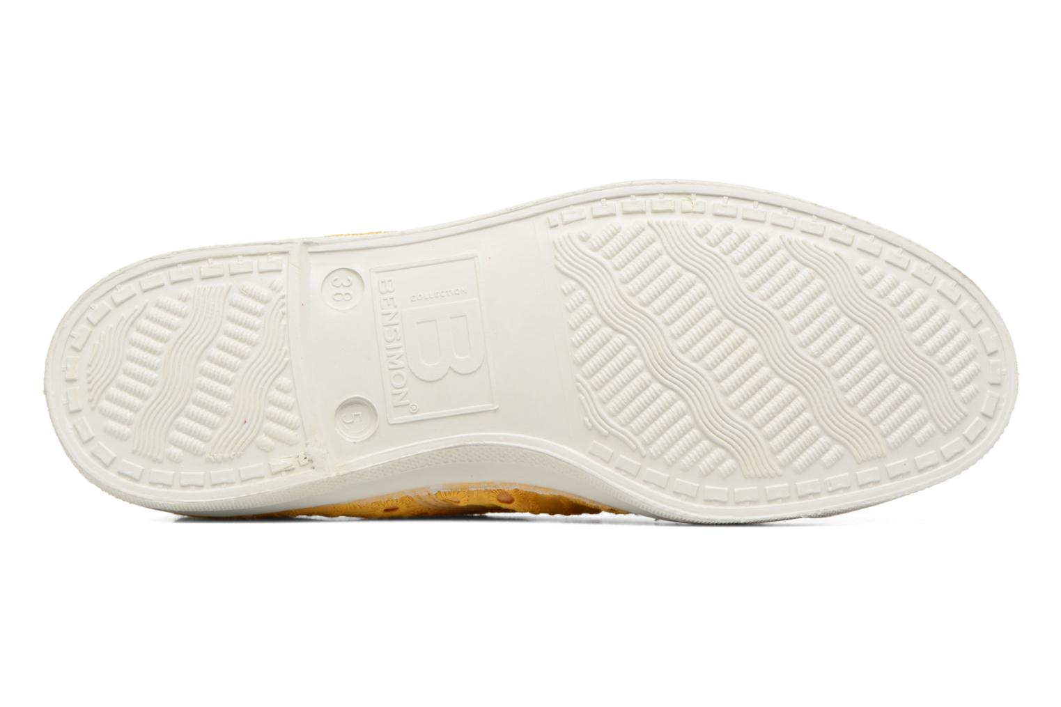 Trainers Bensimon Tennis Broderie Anglaise Yellow view from above