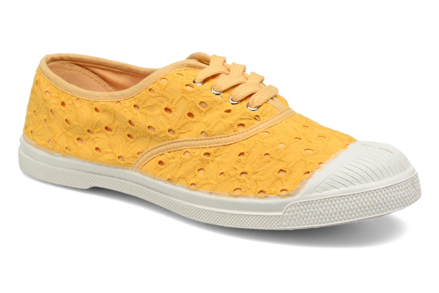Trainers Bensimon Tennis Broderie Anglaise Yellow detailed view/ Pair view