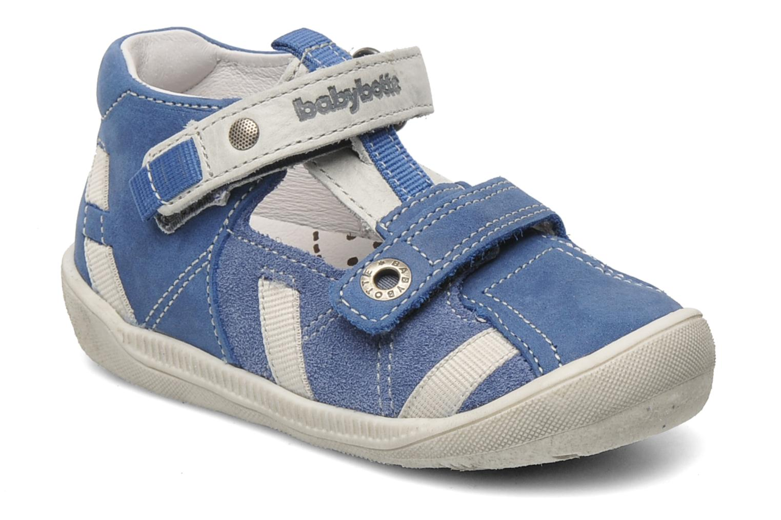Velcro shoes Babybotte STYLI Blue detailed view/ Pair view