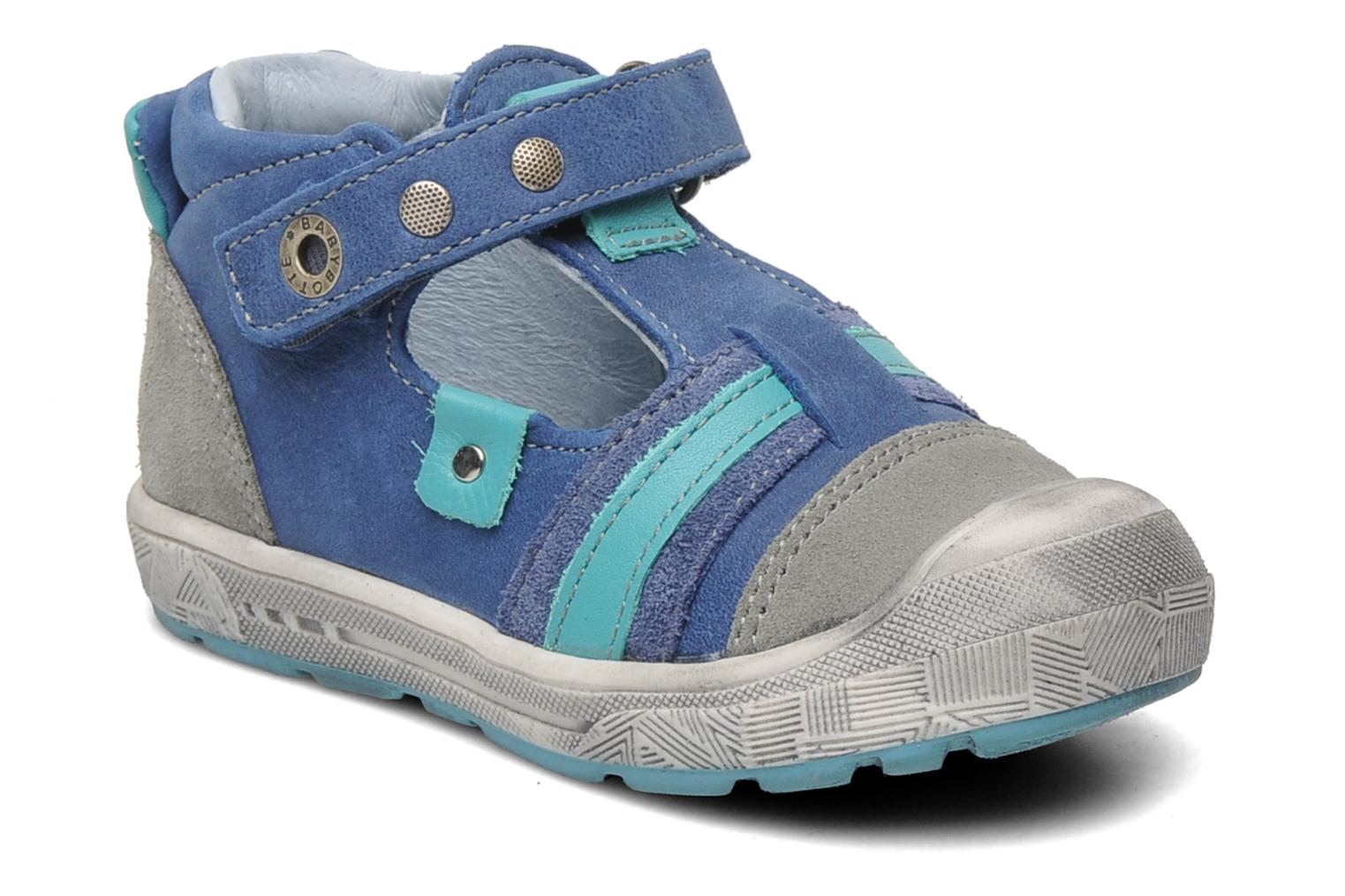 Velcro shoes Babybotte SAWY Blue detailed view/ Pair view