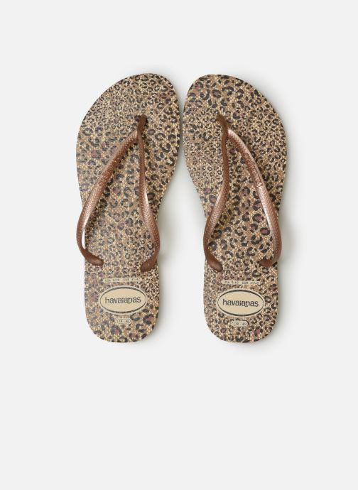 Tongs Havaianas Slim Animals Marron vue portées chaussures