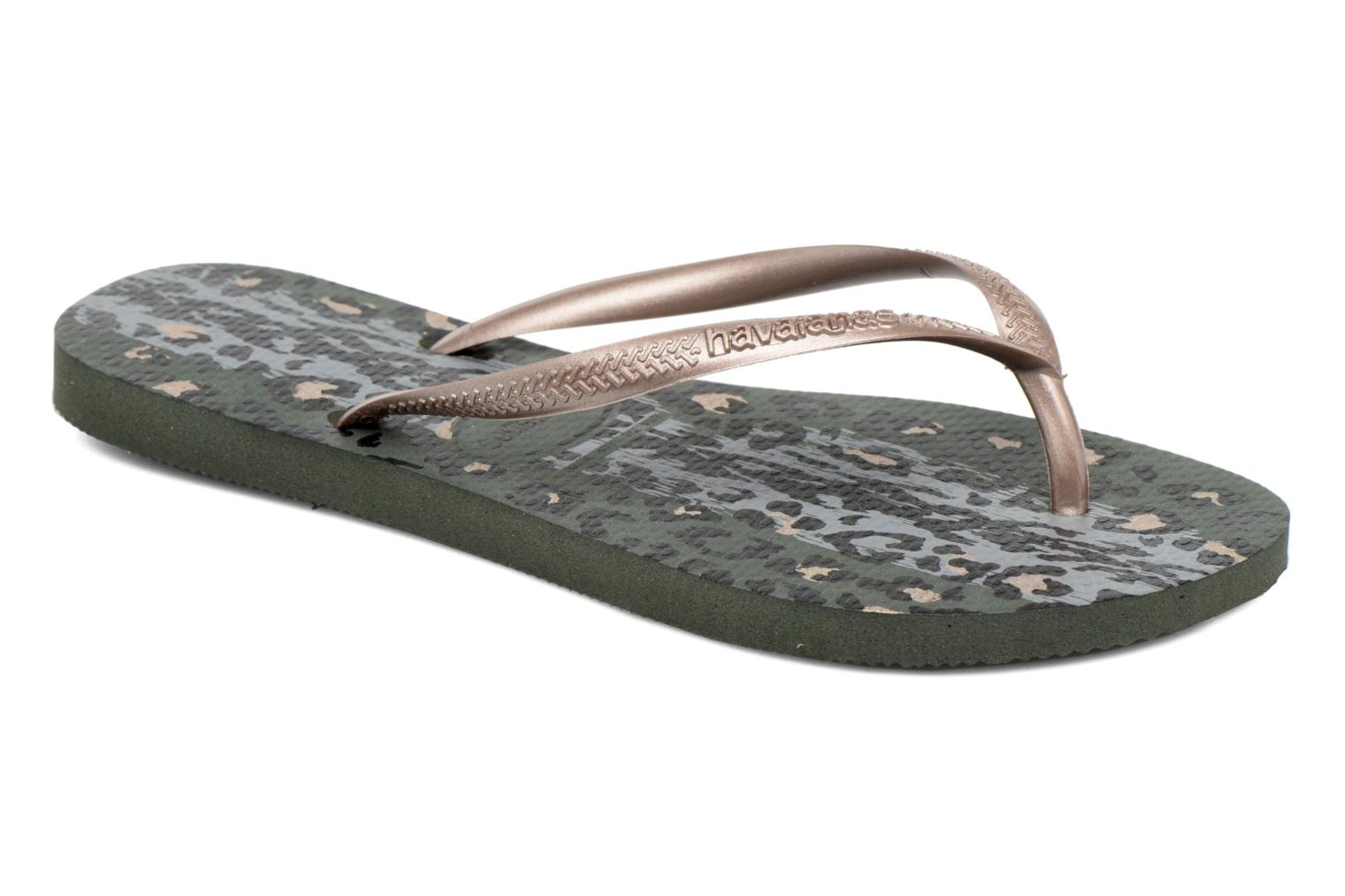 Tongs Havaianas Slim Animals Vert vue détail/paire