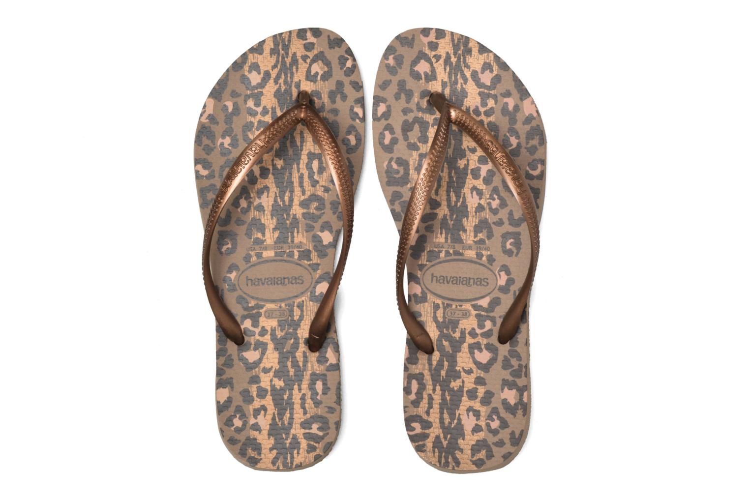 Chanclas Havaianas Slim Animals Oro y bronce vista 3/4