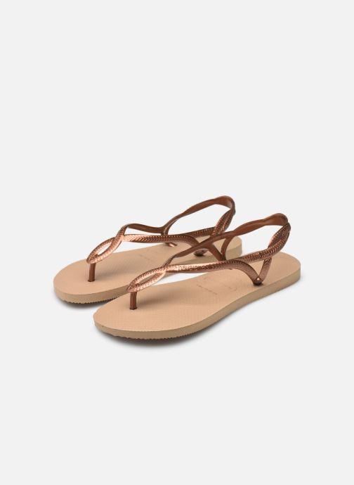 Sandales et nu-pieds Havaianas Luna Or et bronze vue bas / vue portée sac