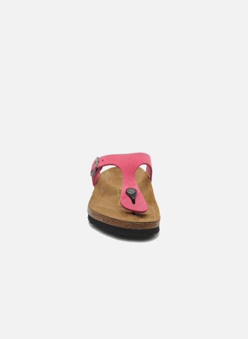 Tongs Birkenstock Gizeh Nubuck W Rose vue portées chaussures