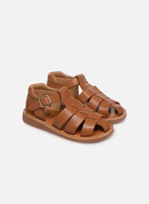Sandales et nu-pieds Pom d Api Yapo Papy Buckle Marron vue 3/4