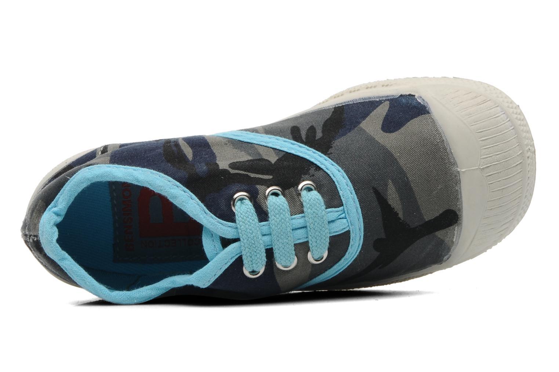 Baskets Bensimon Tennis Camouflage E Bleu vue gauche
