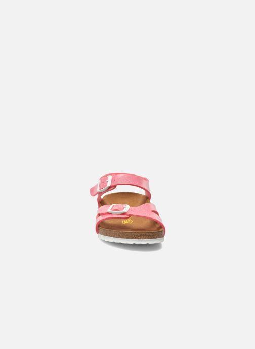 Sandali e scarpe aperte Birkenstock Rio Birko Flor Rosa modello indossato