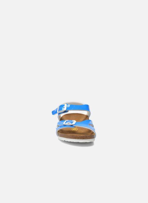 Sandales et nu-pieds Birkenstock Rio Plain Birko Flor Bleu vue portées chaussures