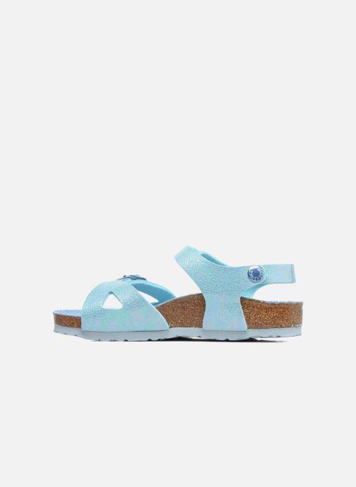 Sandales et nu-pieds Birkenstock Rio Plain Birko Flor Bleu vue face