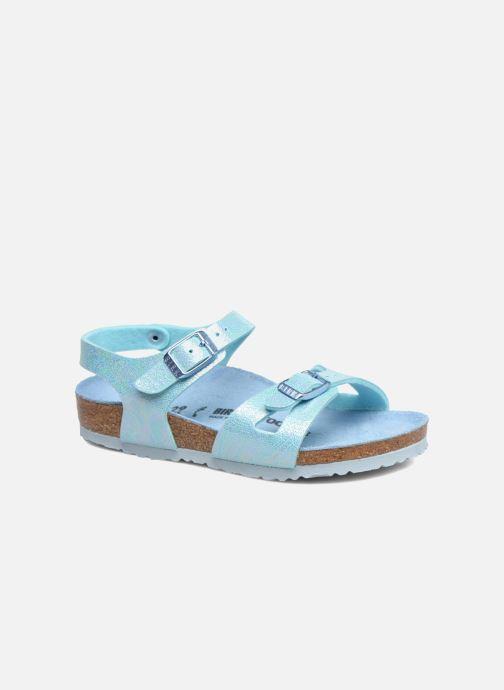 Sandales et nu-pieds Birkenstock Rio Plain Birko Flor Bleu vue détail/paire