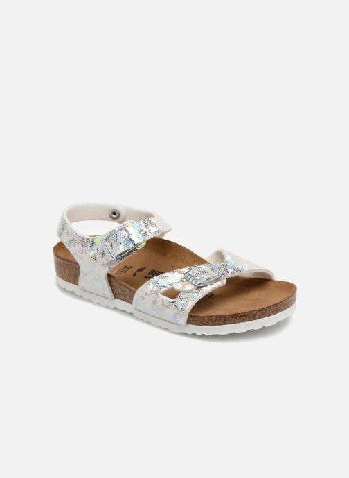 Sandales et nu-pieds Birkenstock Rio Birko Flor Argent vue détail/paire